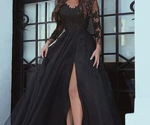 evening dress, long sleeves prom dress, and prom dress image