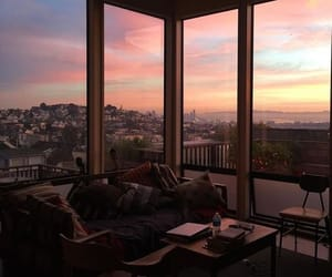 sky, sunset, and view image