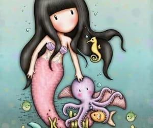 mermaid, octopus, and sea horse image