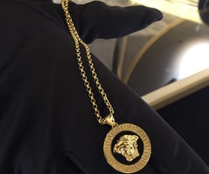 gold, Versace, and black image
