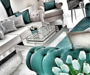 bluegreen, grey, and living room image