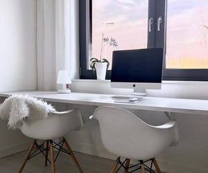 computer, desk, and room image