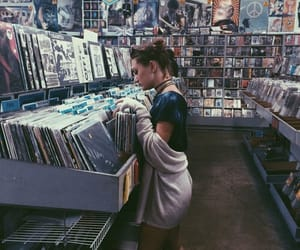 girl, music, and record image