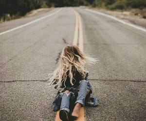 girl, hair, and road image