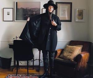 art, black, and hat image