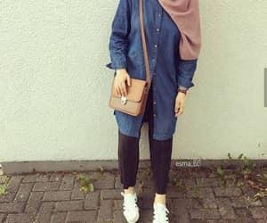 denim chemise hijab image