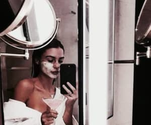 bathroom, face mask, and girls image