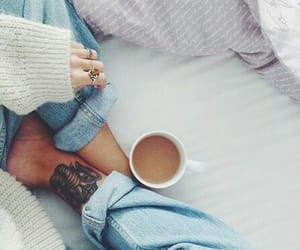 coffee, tattoo, and jeans image