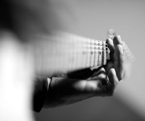 black and white, guitar, and musical instruments image