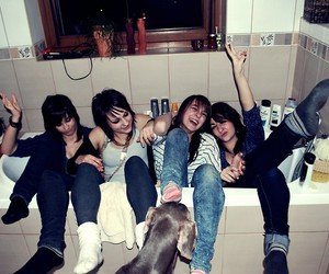 bath, smile, and friends image