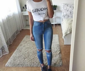 blue jeans, casual, and girls image