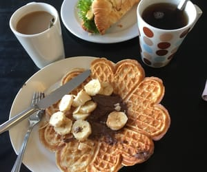 coffee, desserts, and waffles image