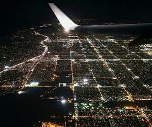 night, plane, and airplane image