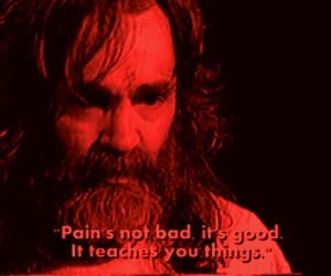 Charles Manson, black and white, and pain image