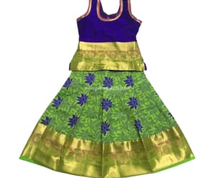 violet and green color and stitched pattu pavadai image