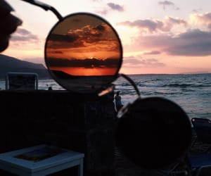 beach, glasses, and Greece image