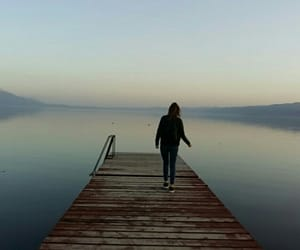 blue, lake, and person image