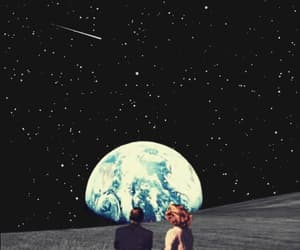 space, stars, and couple image