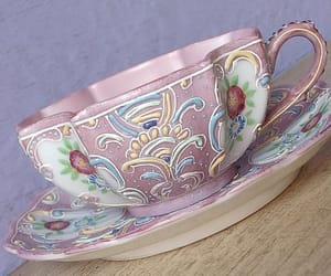 pink, porcelain, and saucer image