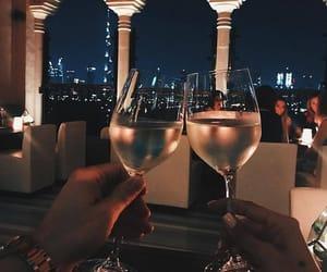 girl, night, and wine image