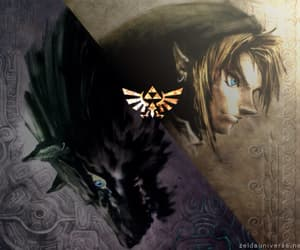 link, wolf, and triforce image