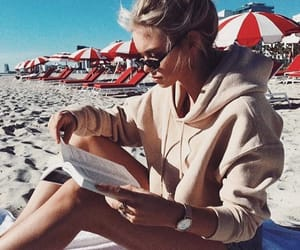 beach, girl, and reading image