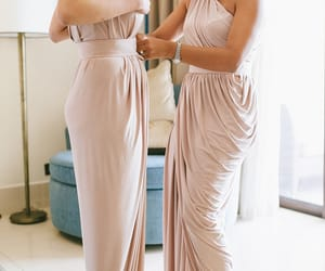 one shoulder, bridesmaid dress, and chiffon dress image