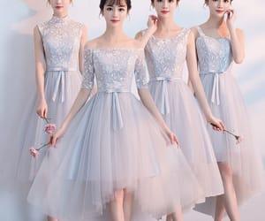 girl, grey dress, and asymmetrical dress image