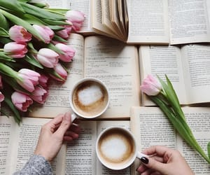 coffee, books, and tulips image