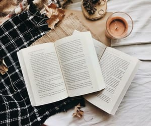books, leaves, and candles image
