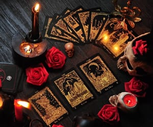 tarot, candles, and rose image