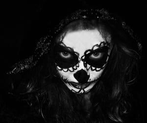blackandwhite, girl, and Halloween image