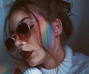 rainbow, girl, and makeup image