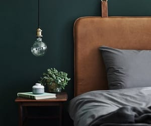 bedroom, green, and house decor image