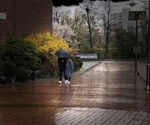 couple, rain, and smile image