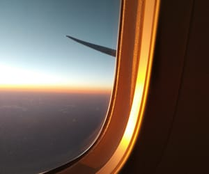 sunset, plane, and sky image