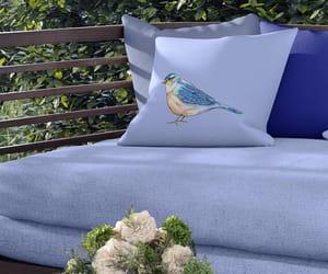blue bird, throw pillow, and outdoor decor image