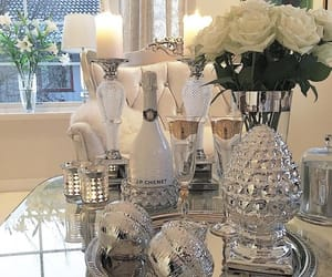 home decor, silver, and white roses image