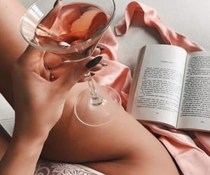 drink, book, and pink image