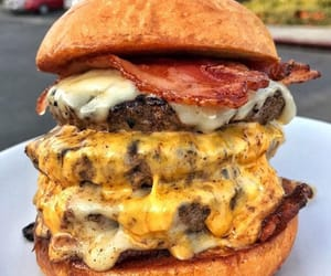 burger, cheese, and food image