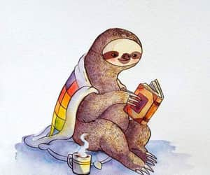 book, sloth, and tea image