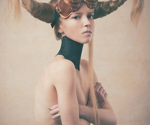 braids, horns, and woman image