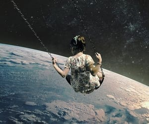 girl, art, and space image