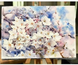beautiful, flowers, and watercolor painting image