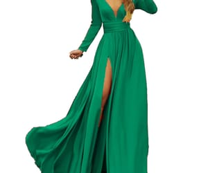 prom gown, emerald green prom dress, and long party dress image
