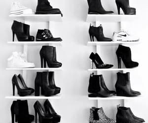 black, shoes, and shelves image