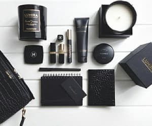 black, candle, and makeup image