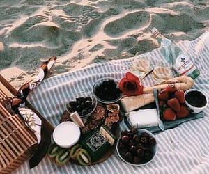 beach, couple, and food image