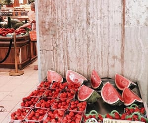 strawberry, fruit, and watermelon image