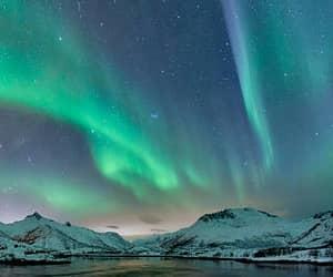 night, northern lights, and stars image